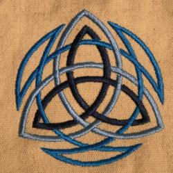 Umhänge- Tasche natur - Trinity/ Triquetra - blau
