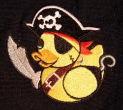 Umhänge- Tasche schwarz - Quietsche Ente Pirat