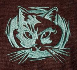 Umhänge- Tasche schwarz - Katzen-Kopf/ Felidae - grün