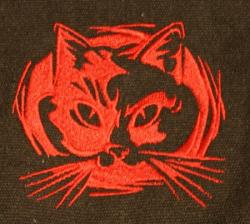 Umhänge- Tasche schwarz - Katzen-Kopf/ Felidae - rot