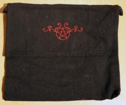 Umhänge- Tasche schwarz - Pentagramm/ Pentakel Ranke - rot