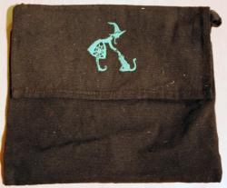 Umhänge- Tasche schwarz - Hexe & Katze / Witch & Cat - grün