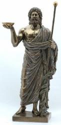 Statue - Aesculap/ Hippokrates mit Stab und Schale - Griechische Gott der Heilkunst - bronziert - Dekoration - Ritualbedarf