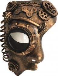 Steampunk - Maske mit Kunstseidenband - Halb-Maske