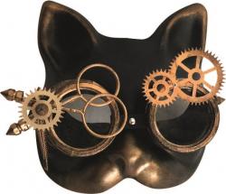 Steampunk - Maske mit Kunstseidenband - Katzen-Maske/ Cat