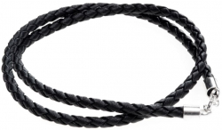 Kette - Halskette - Halsband - Leder Dvalin - geflochten 4mm - 45cm